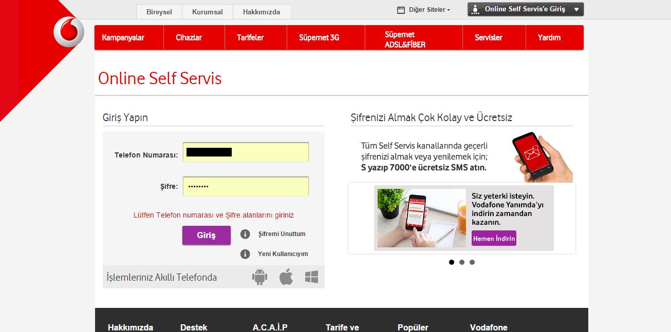 vodafone self servis online işlemleri numara detayı öğrenme numara sorgulama online işlem detayı android makale